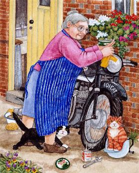 Grandma and 2 cats and motorbike
