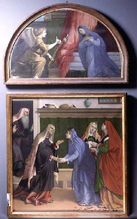 The Annunciation and The Visitation, two paintings constituting an altarpiece