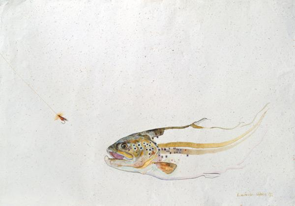 Trout chasing a fisherman''s fly (mixed media) (1991)