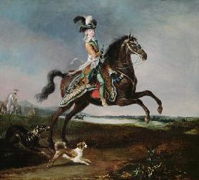 Equestrian portrait of Marie Antoinette in hunting attire