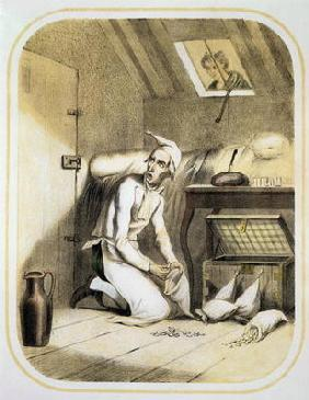 Avarice in the Kitchen, from a series of prints depicting the Seven Deadly Sins, c.1850 (colour lith