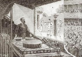 The ''Theatre Optique'' and its inventor Emile Reynaud (1844-1918) with a scene from ''Pauvre Pierro