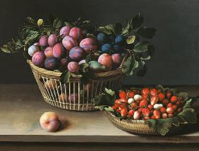 Basket of Plums and Basket of Strawberries