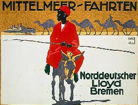 Advertising poster of North German Lloyd for Mediterranean cruises