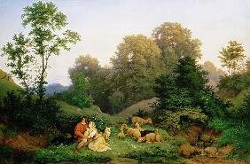Shepherd and Shepherdess in a German landscape