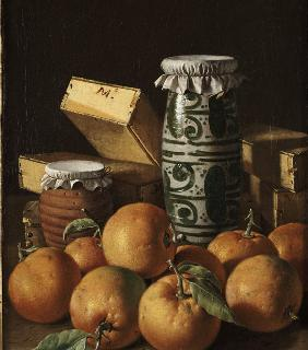 Still Life with Oranges, Jars, and Boxes of Sweets