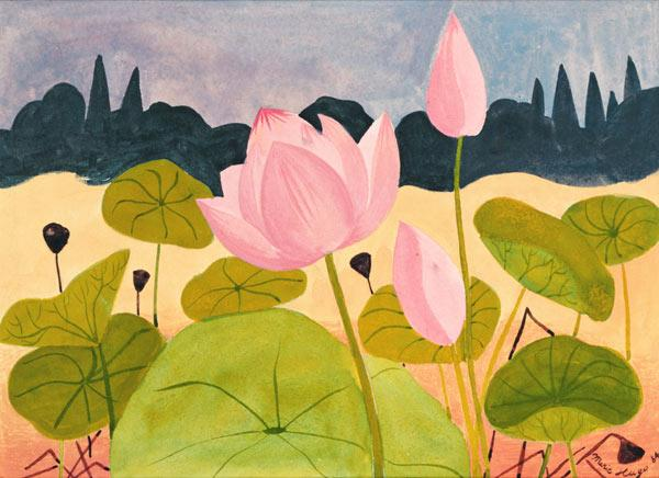 Lotus in the Garrigue, 1984 (gouache on paper)