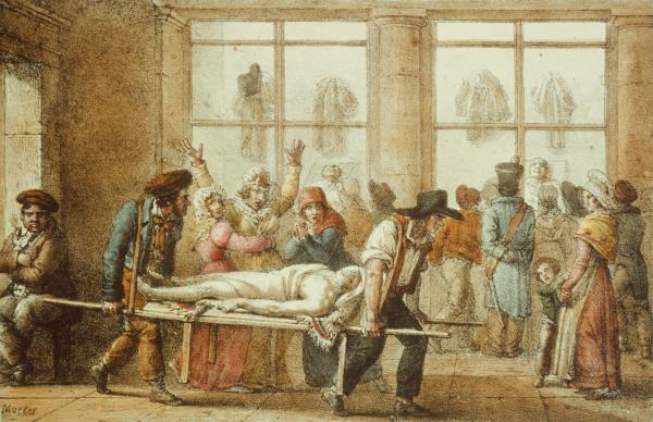 Paris, La Morgue - Marlet JeanHenri en reproducción impresa o copia al óleo  sobre lienzo.