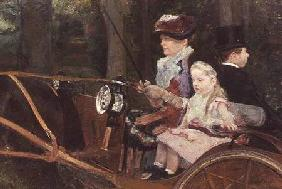 A woman and child in the driving seat