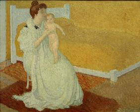 Mother and child at a yellow b