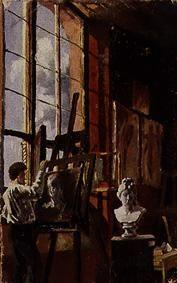 Painter in the studio in painting Karlsruhe, the b