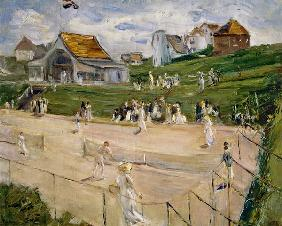 tennis court with players at Noordwijk