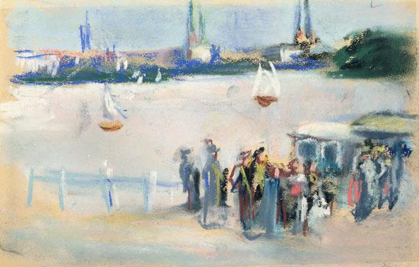 View of the Aussenalster, 1909 (pastel on paper)