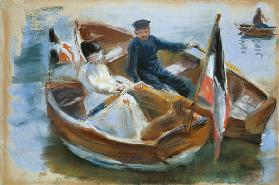 Two Boats with Flags, Wannsee, 1910 (pastel on paper)