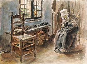 Old Dutchwoman at the window watercolor painting d