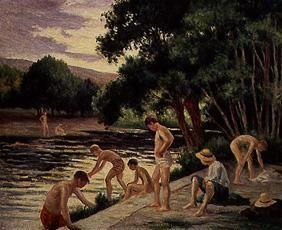 Taking a bath on the bank of the river Cure (Yonne