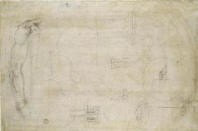 Architectural studies, c.1538-50 (black chalk on paper)