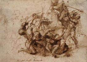 Fight study for the 'Cascina Battle', 1504 (pen & ink on paper)