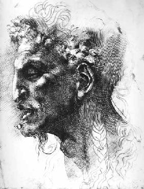 Head of a Satyr (pen & ink on paper)