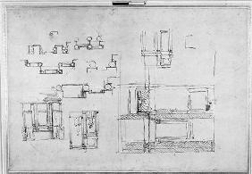Studies for the Medici Tomb, c.1520 (pen & ink on paper)