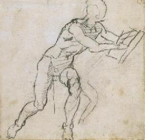 Study of a seated male nude, c.1511 (black chalk on paper)