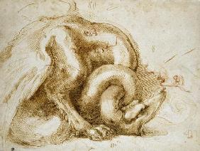 Study of a Winged Monster, c.1525 (red & black chalk on paper)