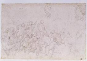 Preparatory sketch for the 'Battle of the Cascina' and two additional sketches