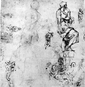 Sketches of male nudes, a madonna and child and a decorative emblem  & ink and