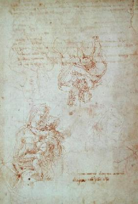 Studies of Madonna and Child (ink) Inv.1859/5014/818 Recto (W.31)