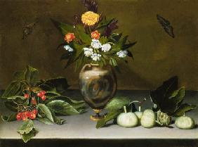 Vase with flowers, cherries, figs and two butterfl