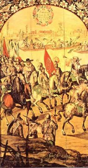 The encounter between Hernando Cortes (1485-1547) and Montezuma (1466-1520)