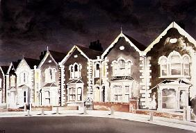 Lurid Sky Behind the Bargeboard Houses, 1998 (w/c on paper)