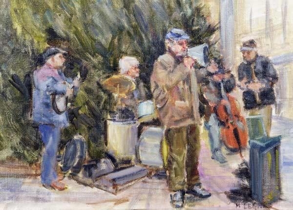 Jazz Buskers, Prague (oil on canvas)