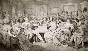 An Evening at Baron von Spaun's: Schubert at the piano among his friends including
