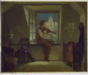 Violin player at the window