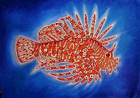 Lionfish, 1998 (woodcut print and mixed media)