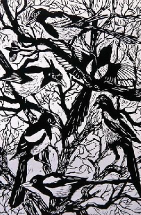 Morley, Nat  : Magpies, 1997 (woodcut)