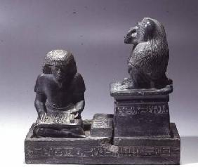 The royal scribe Nebmertuf writing under the protection of the Moon God Thoth