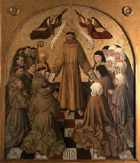 St. Francis Giving the Rule to his Disciples, panel from the Pala di Rocca (tempera & gold leaf on p