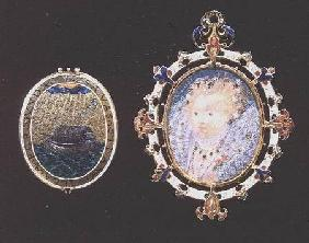 """Armada Jewel"", miniature of Queen Elizabeth I enclosed in a jewelled case, outside of lid depicts a"