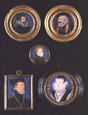 Miniatures of Hilliard's Father and Mother, self portrait and unknown portraits of man and woman