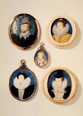 Miniatures, from L to R, T to B: Man with a Hand from a cloud; Unknown Young Man, 1588; Mrs Holland
