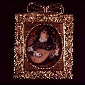 Queen Elizabeth I playing the lute (miniature)