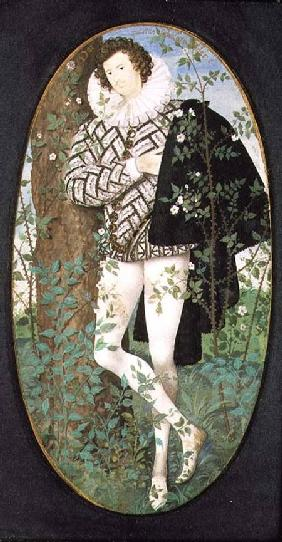 A Young Man Leaning Against a Tree Among Roses (16th century)(miniature)