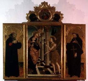 Triptych: central panel depicting the Annunciation with God above and side panels bearing the figure