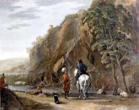 Italianate landscape with figures and a horse on a road