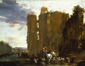 Italian ruin landscape with cattle herd