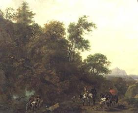 Wooded Landscape with Soldiers Escorting Prisoners