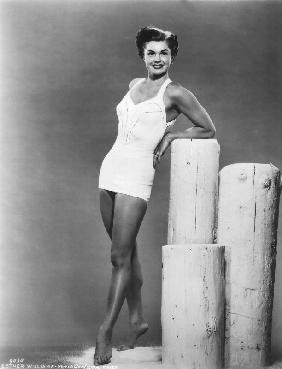 American Actress Esther Williams wearing a bath suit