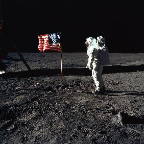 American Astronaut Edwin Buzz Aldrin walking on the moon during Apollo 11 mission